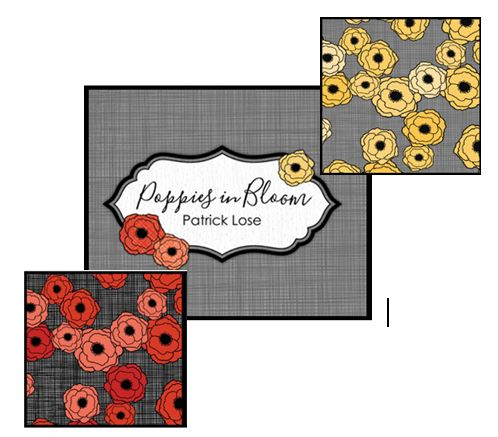 poppies in bloom fabric line