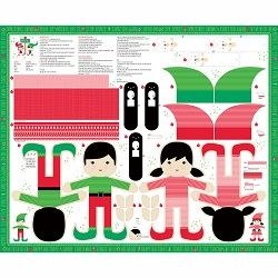 the north pole multi doll fabric panel