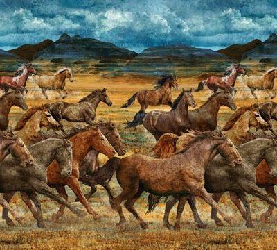 wild horses fabric line